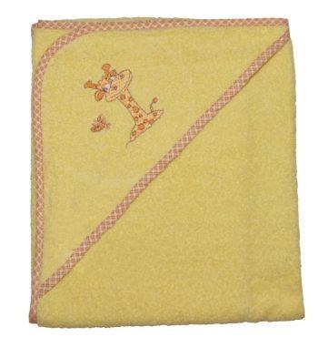 Zsiráfos hímzett babakifogó 80×80 cm sárga
