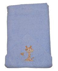 Zsiráfos hímzett babakifogó 75×120 cm kék