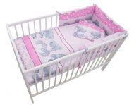 MamaKiddies Sofie Dreams 4 részes ágynemű 180°-os rácsvédővel pink színben
