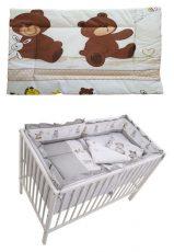 MamaKiddies Sofie Dreams 5 részes ágynemű 360°-os rácsvédővel macis mintával szürke színben