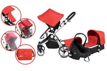 Mama Kiddies Prémium Baby 3 az 1-ben babakocsi kiegészítőkkel piros színben + Ajándék