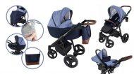 Mama Kiddies Voyage Collection 3az1-ben multifunkciós babakocsi kék színben + ajándék