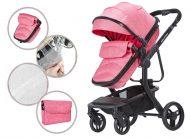 Mama Kiddies Moon Pink: 2az1-ben babakocsi kiegészítőkkel pink színben