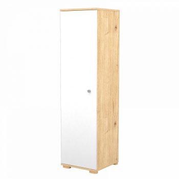 Álló szekrény 1 ajtóval és 5 polccal mandula-fehér színben