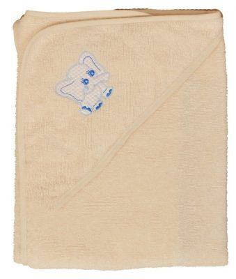 Elefántos hímzett babakifogó 80×80 cm ekrü