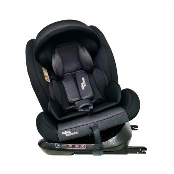 ISOFIX-es 360°-ban forgatható Mama Kiddies Rotary Protect GT biztonsági autósülés (0-36 kg) fekete színben ajándék napvédővel