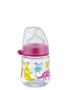 NIP PP széles szájú cumisüveg 150ml szilikon tejes etetőcumival - lányos
