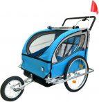 2 üléses kerékpár utánfutó kék-fekete színben