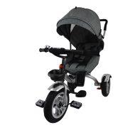 MamaKiddies full extrás fektethető 4az1-ben tricikli tolókarral és lábtartóval szürke színben (360°-ban forgatható ülés)