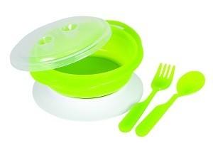 Baby Bruin Tapadókorongos színváltós tányér evőeszközökkel + Ajándék