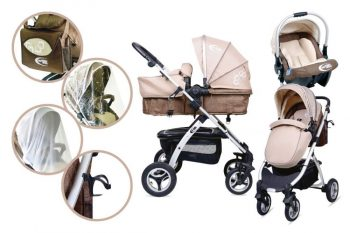 Mama Kiddies BabyBird Lift 3az1-ben babakocsi kiegészítőkkel bézs-barna színben + Ajándék