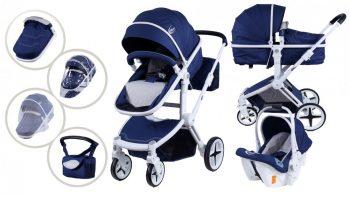 Mama Kiddies Blue Fox 3az1-ben babakocsi kiegészítőkkel kék-fehér színben + Ajándék
