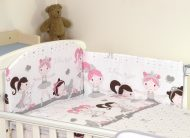 Mama Kiddies Baby Bear 5 részes babaágynemű 180°-os rácsvédővel fehér-szürke színben balett mintával