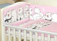 Mama Kiddies Baby Bear 5 részes babaágynemű 180°-os rácsvédővel pink színben jegesmacis mintával