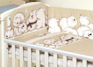 MamaKiddies Baby Bear 5 részes ágynemű 360°-os rácsvédővel világosbarna színben jegesmacis mintával