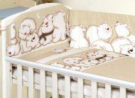 MamaKiddies Baby Bear 5 részes ágynemű 180°-os rácsvédővel világosbarna színben jegesmacis mintával