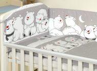 MamaKiddies Baby Bear 5 részes ágynemű 360°-os rácsvédővel szürke színben jegesmacis mintával