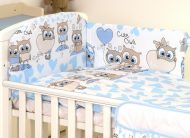 Mama Kiddies Baby Bear 5 részes babaágynemű 180°-os rácsvédővel kék-fehér színben baglyos mintával