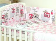 MamaKiddies Baby Bear 5 részes ágynemű 360°-os rácsvédővel pink-fehér színben baglyos mintával