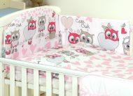MamaKiddies Baby Bear 5 részes ágynemű 180°-os rácsvédővel pink-fehér színben baglyos mintával