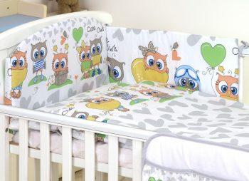MamaKiddies Baby Bear 5 részes ágynemű 360°-os rácsvédővel szürke-fehér színben baglyos mintával