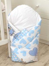 Mama Kiddies Baby Bear pólya kék-fehér színben bagoly mintával