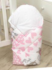 MamaKiddies Baby Bear kókuszpólya pink-fehér színben baglyos mintával