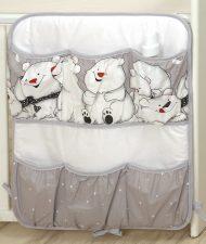 MamaKiddies Baby Bear zsebes tároló szürke színben jegesmaci mintával