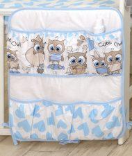 Mama Kiddies Baby Bear zsebes tároló kék-fehér színben baglyos mintával