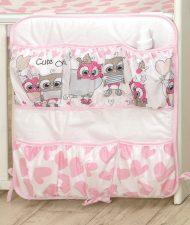 MamaKiddies Baby Bear zsebes tároló pink-fehér színben baglyos mintával