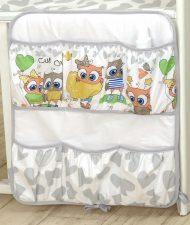 Mama Kiddies Baby Bear zsebes tároló szürke-fehér színben baglyos mintával