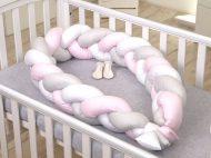 Fonott rácsvédő és babafészek 2az1-ben - rózsaszín 240 cm