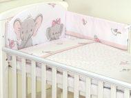 Mama Kiddies Baby Bear 5 részes babaágynemű 180°-os rácsvédővel rózsaszín színben elefántos mintával
