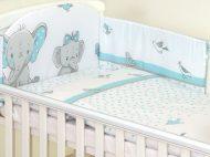 Mama Kiddies Baby Bear 6 részes babaágynemű 180°-os rácsvédővel türkiz színben elefántos mintával
