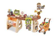 Mama Kiddies 65 részes full extrás szupermarket asztal bevásárlókocsival és rengeteg extrával barna színben