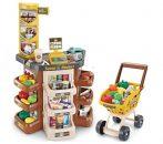 Mama Kiddies 47 részes szuper shopping set bevásárlókocsival és rengeteg extrával barna színben