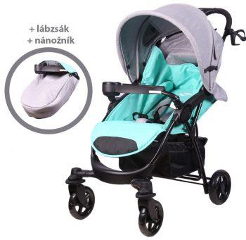 Mama Kiddies Light4 Go Sport babakocsi türkiz-szürke színben + Lábzsák + Ajándék