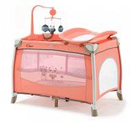 MamaKiddies TravelStar emelhető magasságú utazóágy pelenkázóval barack színben + ajándék zenélő forgó játékokkal