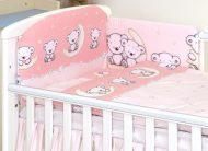 Mama Kiddies Baby Bear 5 részes babaágynemű 180°-os rácsvédővel rózsaszín macis mintával