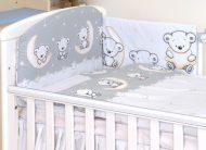 MamaKiddies Baby Bear 5 részes ágynemű 180°-os rácsvédővel szürke macis mintával
