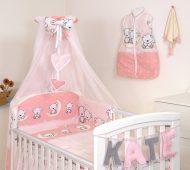 Mama Kiddies Baby Bear 6 részes babaágynemű 180°-os rácsvédővel rózsaszín macis mintával