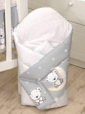 MamaKiddies Baby Bear pólya szürke macis mintával