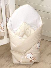 Mama Kiddies Baby Bear kókuszpólya bézs macis mintával