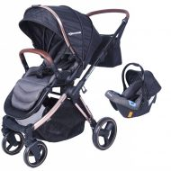 Mama Kiddies Luxury Travel System babakocsi babahordozóval fekete színben + ajándék lábzsák