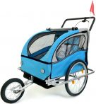 2 üléses lengéscsillapítós kerékpár utánfutó kék-fekete színben