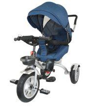 MamaKiddies full extrás fektethető 4az1-ben tricikli tolókarral és lábtartóval kék színben (360°-ban forgatható ülés)