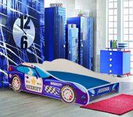 Mama Kiddies 160x80-as gyerekágy autós dizájnnal - Sheriff mintával - matraccal