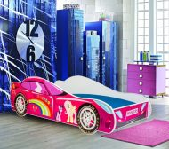 Mama Kiddies 160x80-as gyerekágy autós dizájnnal - Princess Rainbow mintával - matraccal