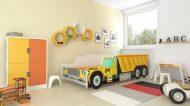MamaKiddies 160x80-as gyerekágy teherautós dizájnnal - CAT mintával