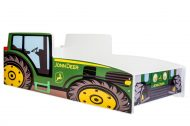 Mama Kiddies 140x70-as gyerekágy traktor dizájnnal zöld színben - matraccal